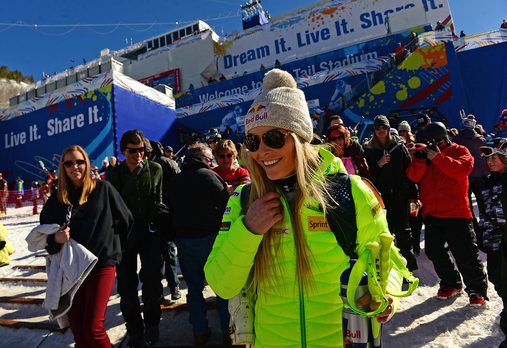 . American Lindsey Vonn surrounded by fans walks to the shuttles after the Women\'s downhill race in the FIS Alpine World Ski Championships in Beaver, CO. February 6, 2015.  She finished 5th in the race. (Photo By Helen H. Richardson/The Denver Post)