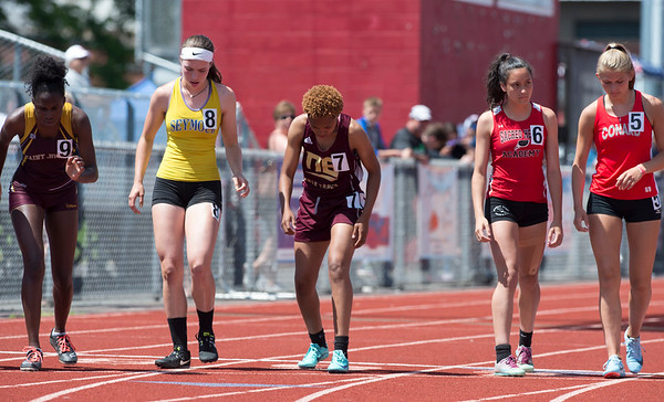 06/12/19 Wesley Bunnell | Staff Raven Jarrett became the first member of the New Britain High School girls track and field team to win the heptathlon with her performance on June 12, 2019 at Manchester High School. She held first place after day one on June 11, 2019 before slipping to second place on day two but would win the event with her finish in the 800 meter. The start of her race in the 800 meter.
