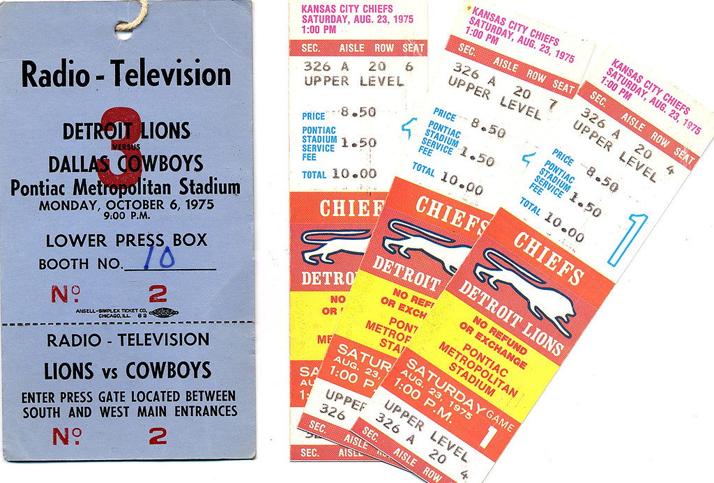 . Press pass and tickets to the Detroit Lions1975 game at the Pontiac Metropolitan Stadium.