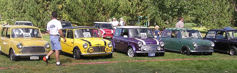 A row of classic Minis.
