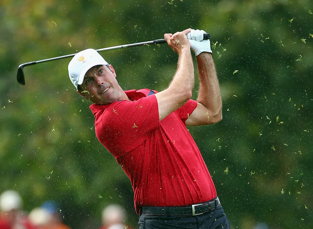 . DUBLIN, OH - OCTOBER 05:  Matt Kuchar of the United States Team hits his second shot on the 13th hole during the Day Three Four-ball Matches at the Muirfield Village Golf Club on October 5, 2013  in Dublin, Ohio.  (Photo by Andy Lyons/Getty Images)