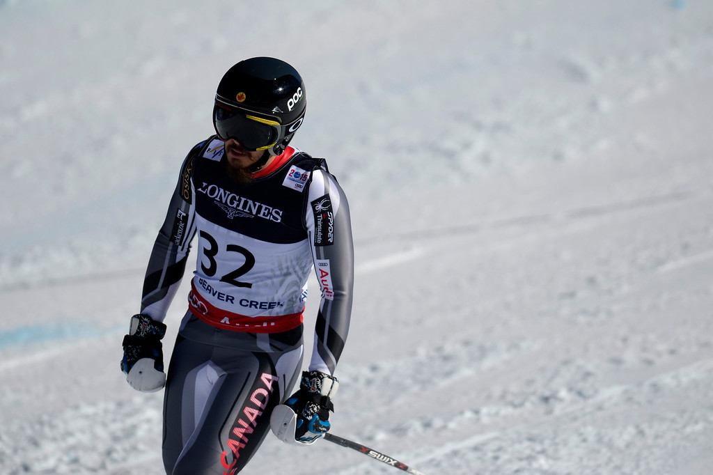 . BEAVER CREEK, CO - FEBRUARY 08: Morgan Pridy of Canada reacts to wrecking during the men\'s alpine combined final. FIS Alpine World Ski Championships 2015 on Sunday, February 8, 2015. (Photo by AAron Ontiveroz/The Denver Post)