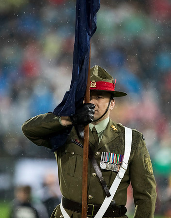 Flag Bearer during game 9 of the British and Irish Lions 2017 Tour of New Zealand, the second Test match between  The All Blacks and British and Irish Lions, Westpac Stadium, Wellington, Saturday 1st July 2017 (Photo by Kevin Booth Steve Haag Sports)  Images for social media must have consent from Steve Haag
