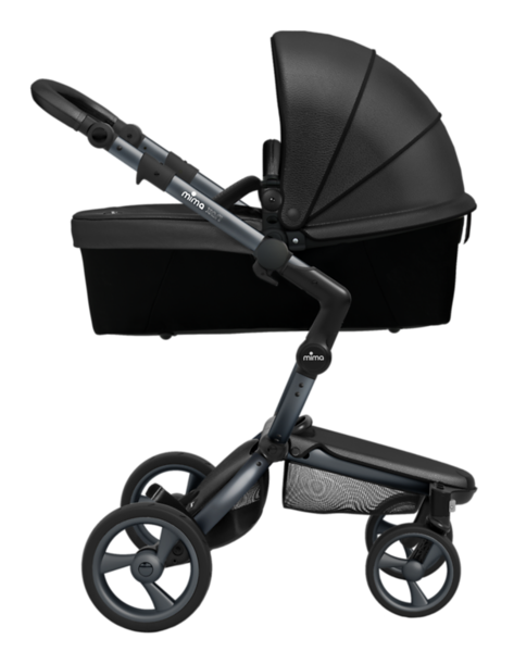 Mima_Xari_Product_Shot_Black_Flair_Graphite_Chassis_Side_View_Carrycot.png