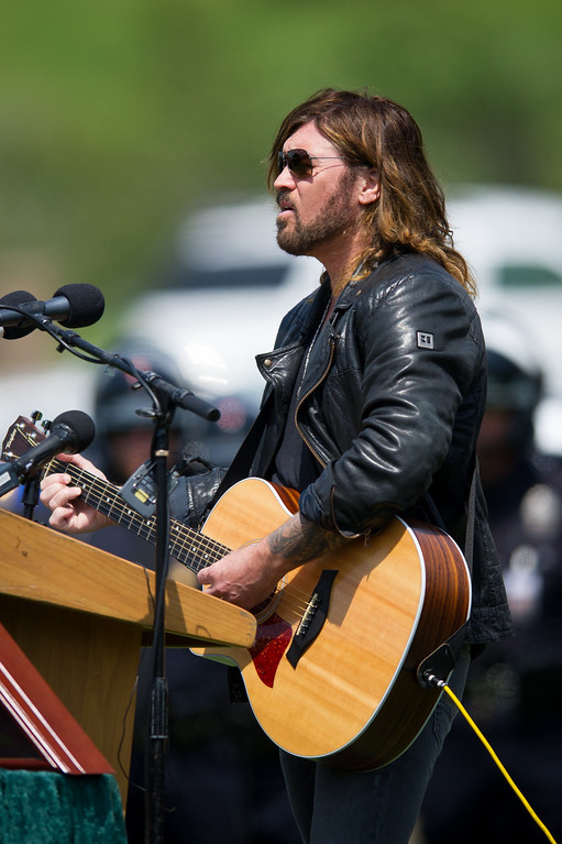 . Billy Ray Cyrus sings at the funeral for Chris Cortijo, Tuesday, April 22, 2014, at Forest Lawn Hollywood Hills. (Photo by Michael Owen Baker/L.A. Daily News)