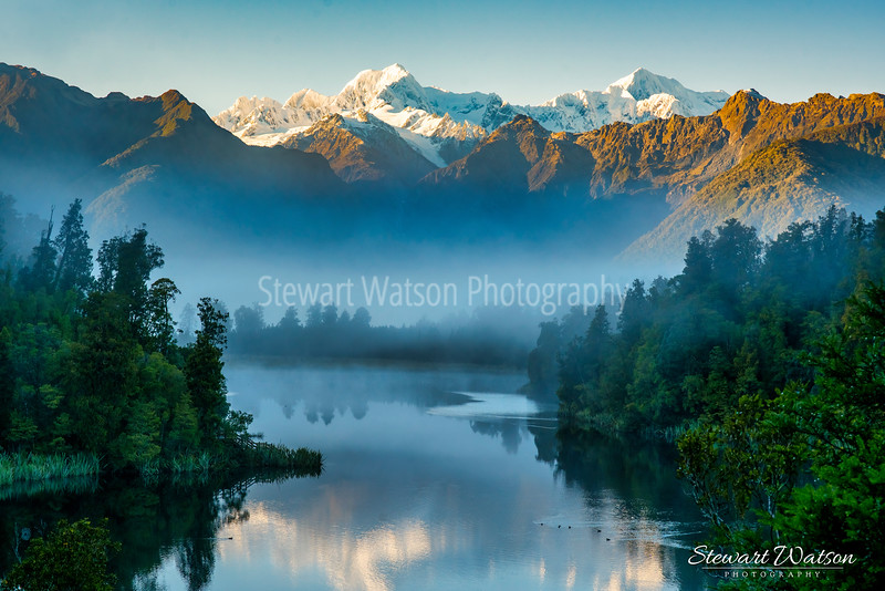 Early morning fog and mist at Lake Matheson