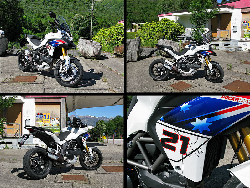 Compilation of 4 photos of the 'Try Bayliss' Ducati Multistrada 1200