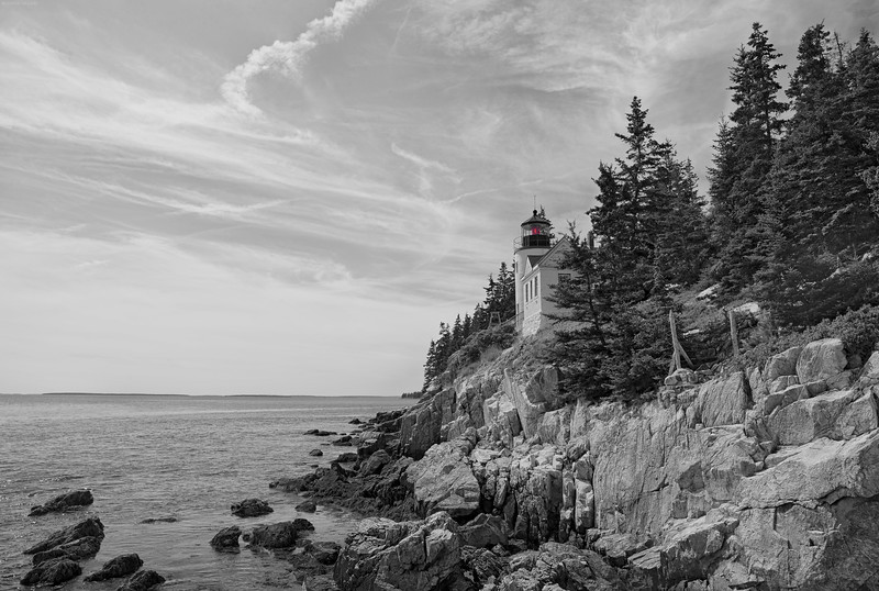 Bass Harbor Lighthouse in B&W