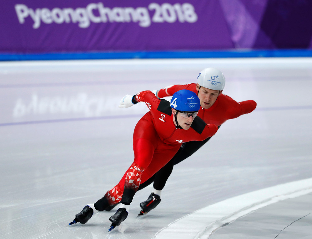 . Livio Wenger of Switzerland, front, and Viktor Hald Thorup of Denmark compete during the men\'s mass start speedskating race at the Gangneung Oval at the 2018 Winter Olympics in Gangneung, South Korea, Saturday, Feb. 24, 2018. (AP Photo/John Locher)