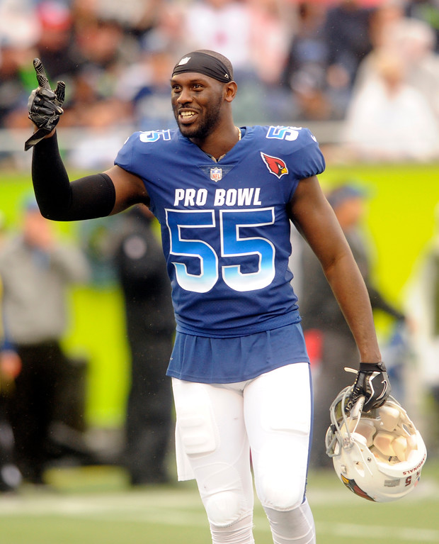 . NFC linebacker Chandler Jones (55), of the Arizona Cardinals gestures, during the first half of the NFL Pro Bowl football game against the AFC, Sunday, Jan. 28, 2018, in Orlando, Fla. (AP Photo/Steve Nesius)