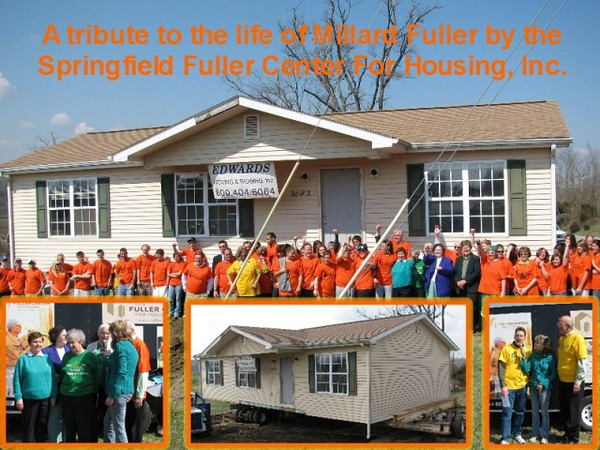 09 03-17 A collage of the house move in Springfield, KY. Saint Catharine College students volunteered to clean and prepare  the house for the move. Pictured are Springfield Fuller board, St. Catharine students and the nuns who built the Habitat house standing with the mayor of Springfield, Ky. sh