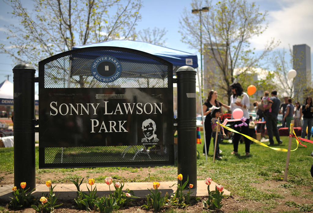 . DENVER, CO. - MAY 11 : People celebrate the Five Points Better Block Project at Sonny Lawson Park. Denver, Colorado. May 11, 2013. The event was an opportunity for The Five Points Better Block Project to demonstrate potential improvements for the neighborhood and provide tips to promote a stronger community. (Photo By Hyoung Chang/The Denver Post)