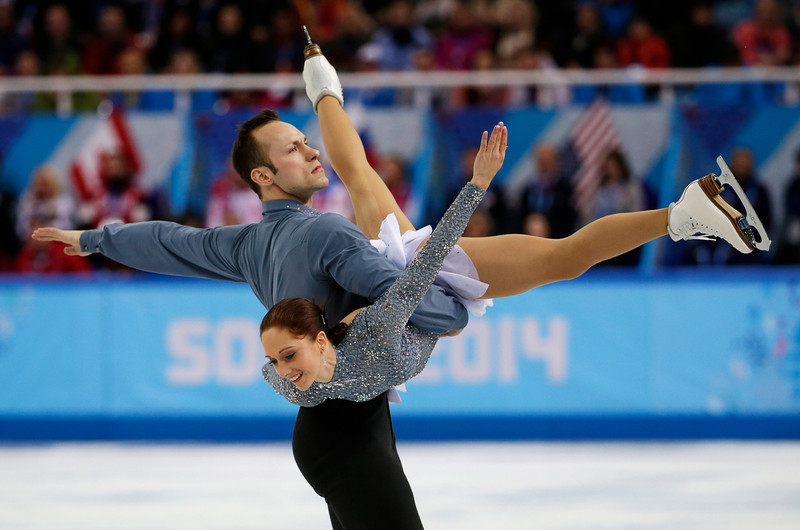 . Maylin Wende and Daniel Wende of Germany compete in the team pairs short program figure skating competition at the Iceberg Skating Palace during the 2014 Winter Olympics, Thursday, Feb. 6, 2014, in Sochi, Russia. (AP Photo/Bernat Armangue)