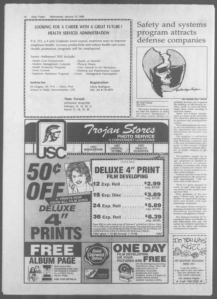 Daily Trojan, Vol. 106, No. 4, January 13, 1988