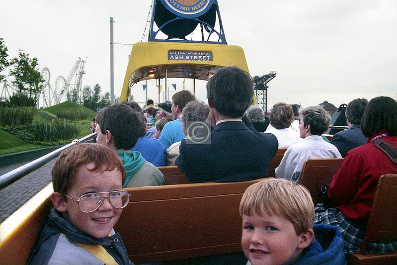 GGF, 1988. Nephews #1 & #2 on the Blackpool tram.