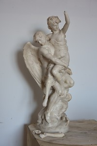 19th Century Marble Statue of an Angel with a Woman