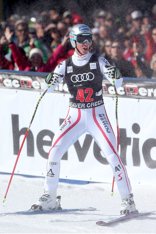 . Florian Scheiber #42 of Austria celebrates after he crosses the finish line during the men\'s downhill on the Birds of Prey at the Audi FIS World Cup on November 30, 2012 in Beaver Creek, Colorado.  (Photo by Matthew Stockman/Getty Images)