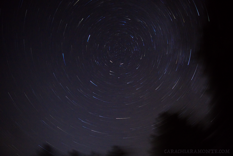 This  was actually an accident and not intended as a star trail photo- just a tripod malfunction with very cool results