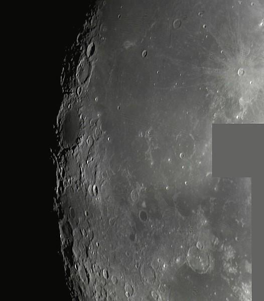 Měsíc 24.4.2013 cca 2:30 - SkyWatcher 130/650, MS Lifecam 5000HD. Mozaika oblasti kolem spodní části Oceánu bouří, dole částečně až k Moři par.