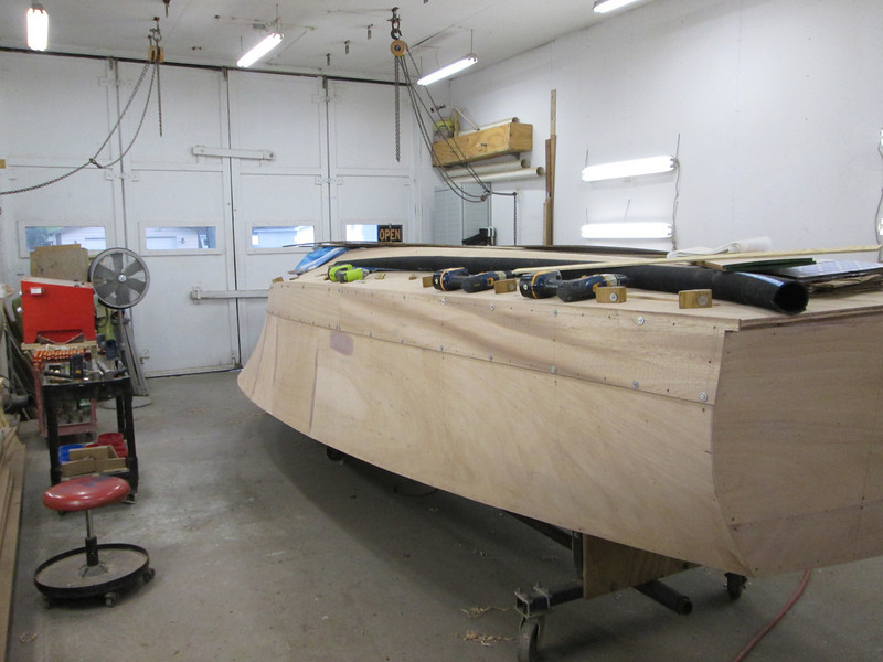 Rear port view of first side plank fit.