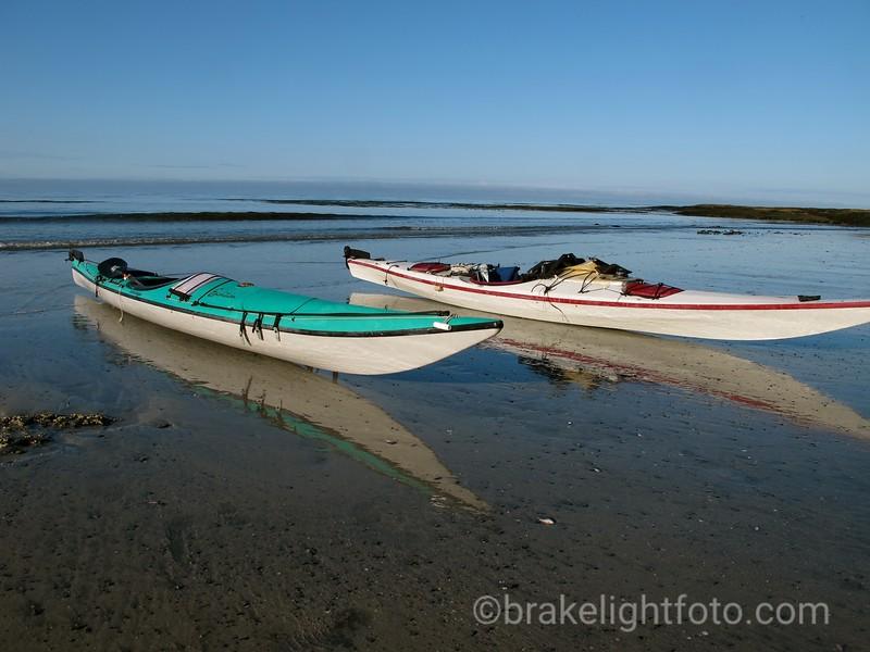 Kayaks on Beach at  Calvin Falls