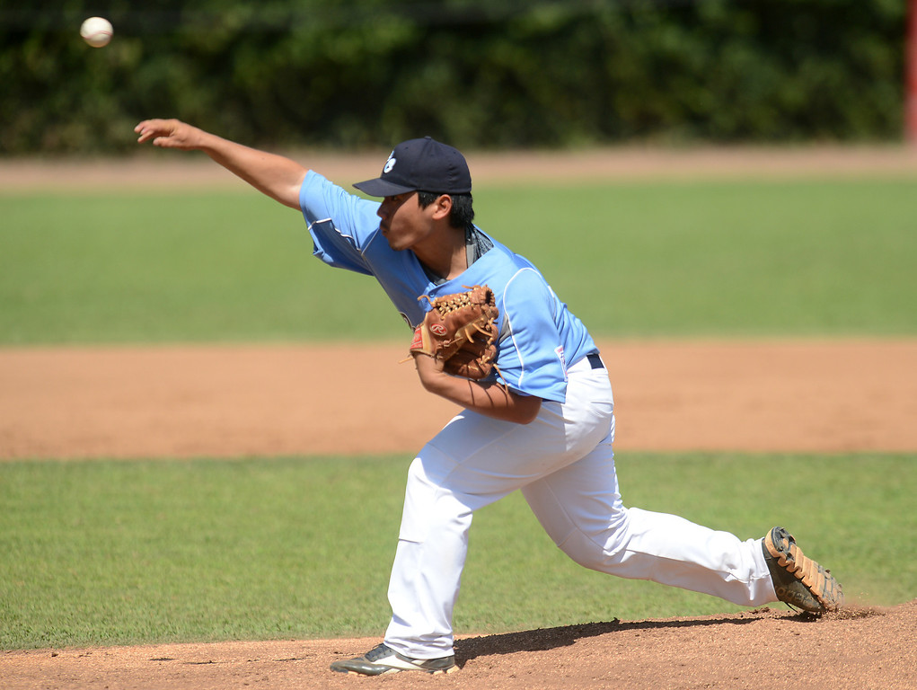 . Chino National (white) vs Hawaii (blue) Little League Senior Western Regional Tournament game action Wednesday, July 31, 2013, at Jay Littleton Ball Park in Ontario. Chino National came from behind to defeat Hawaii 8-6.  Jennifer Cappuccio Maher/Staff Photographer