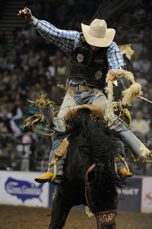 . DENVER, CO- JANUARY 27:   Troy Crowser, of Whitewood, South Dakota, hangs on during the Saddle Bronc Riding competition of the rodeo.   The final day of the 2013 National Western Stock show was Sunday, January 27th.  One of the big events for the day was the PRCA Pro Rodeo finals in the Coliseum.  The event featured bareback riding, steer wrestling, team roping, saddle bronc riding, tie down roping, barrel racing and bull riding.  (Photo By Helen H. Richardson/ The Denver Post)