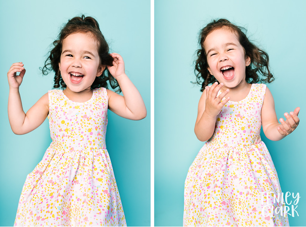 Colorful studio toddler model headshot portfolio session-JE Kids -San Jose, CA by Tenley Clark Photography.