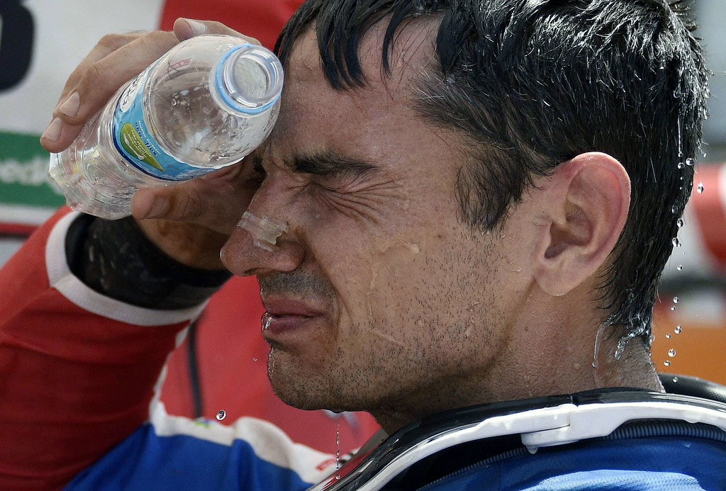 . Yamaha\'s driver Dutch Frans Verhoeven cools himself down at the end of the stage 2 of the Dakar 2015 between Carlos Paz and San Juan, Argentina, on January 5, 2015. FRANCK FIFE/AFP/Getty Images