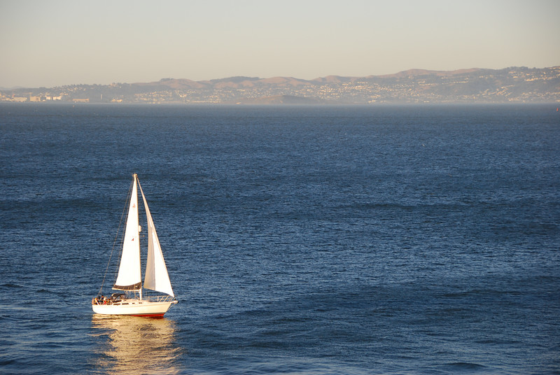 A sailboat, viewed from Alcatraz.