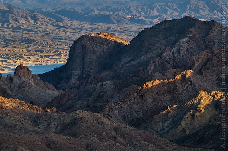 Volcanic ridges of the Jimbilnan Wilderness, overlooking Lake Mead, Nevada, January 2015.