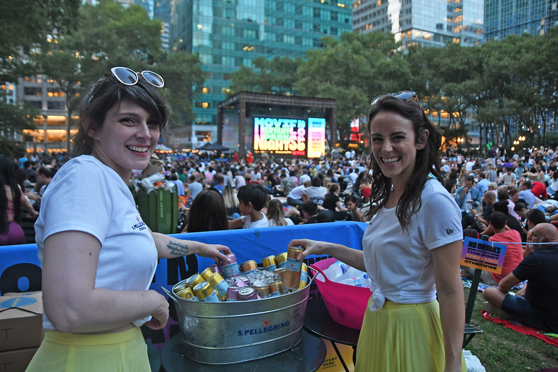 "San Pellegrino launches new sparkling water flavors at ""Movie Nights"" at Bryant Park on August 12, 2019 in New York City."