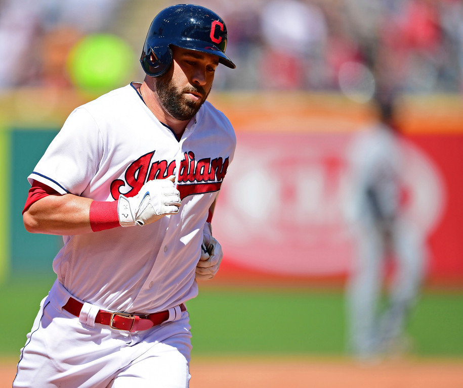 . Cleveland Indians\' Jason Kipnis runs the bases after hitting a solo home run off Detroit Tigers relief pitcher Artie Lewicki in the eighth inning of a baseball game, Sunday, June 24, 2018, in Cleveland. The Indians won 12-2. (AP Photo/David Dermer)