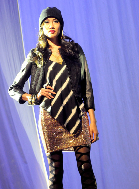 . A model wears a Rachel Rachel Roy outfit during the dress rehearsal for the annual Macy\'s Glamorama.  (Pioneer Press: Jean Pieri)
