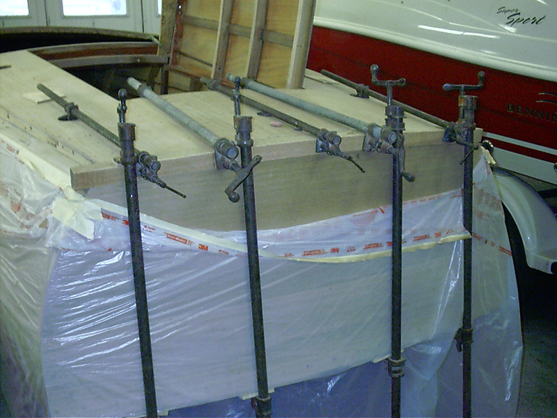 Another view of transom cover board clamped.