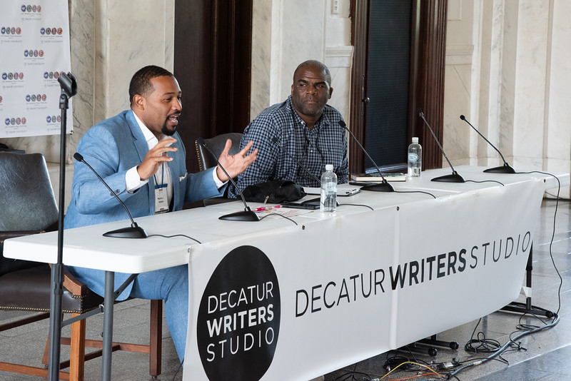 """Maurice Hobson talks about his book """"Black Mecca"""" at the Courthouse today at the Decatur Book Festival"""