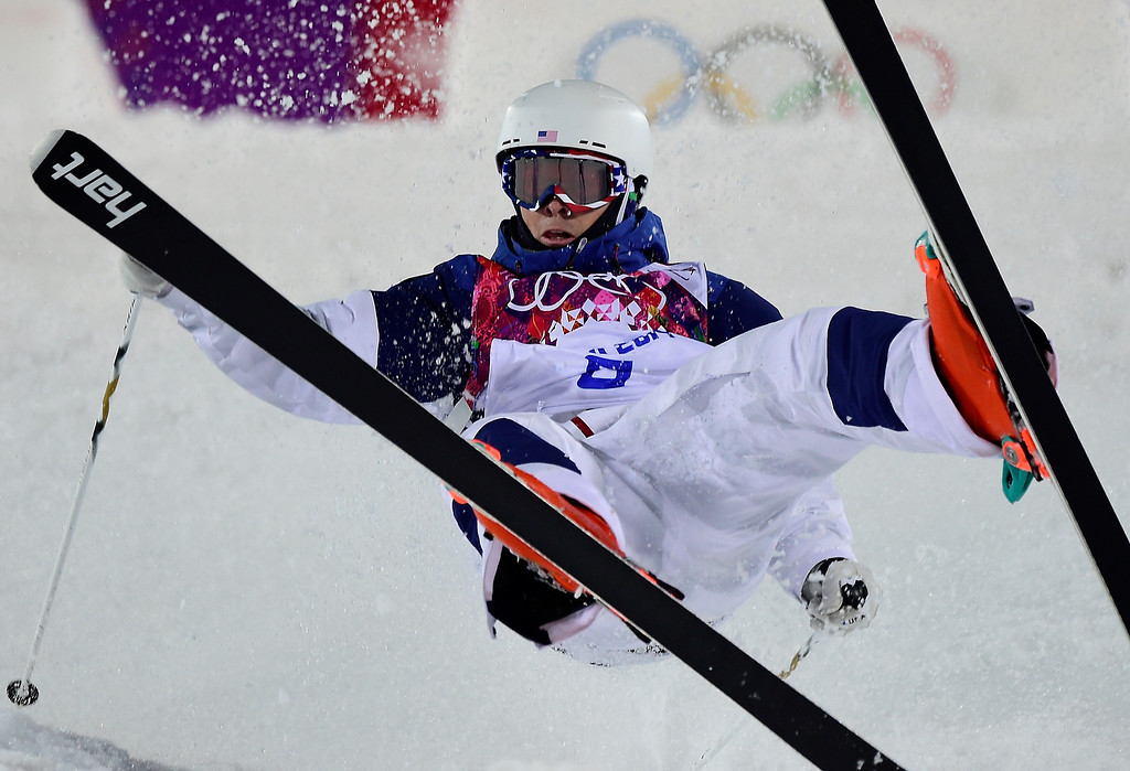 . US Bradley Wilson competes in the Men\'s Freestyle Skiing Moguls qualifications at the Rosa Khutor Extreme Park during the Sochi Winter Olympics on February 10, 2014.           JAVIER SORIANO/AFP/Getty Images