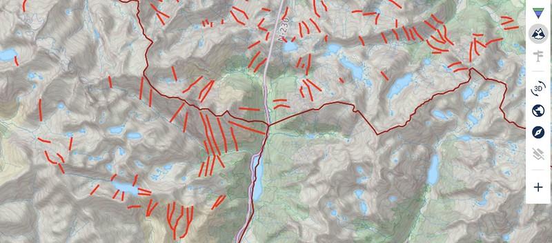 Trayectoria de aludes habituales Pirineos en ATESMAPS