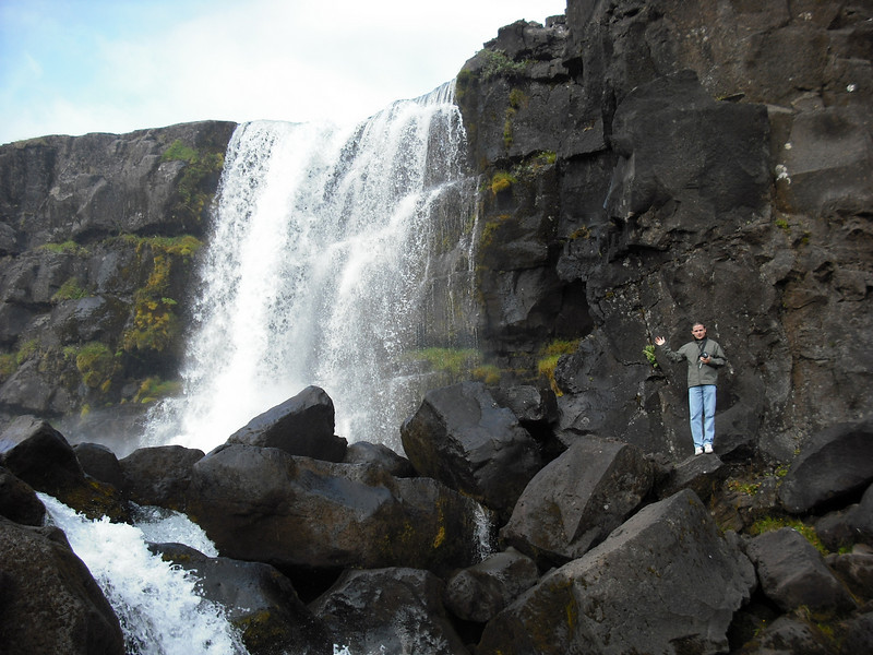Þingvellir National Park has a waterfall.