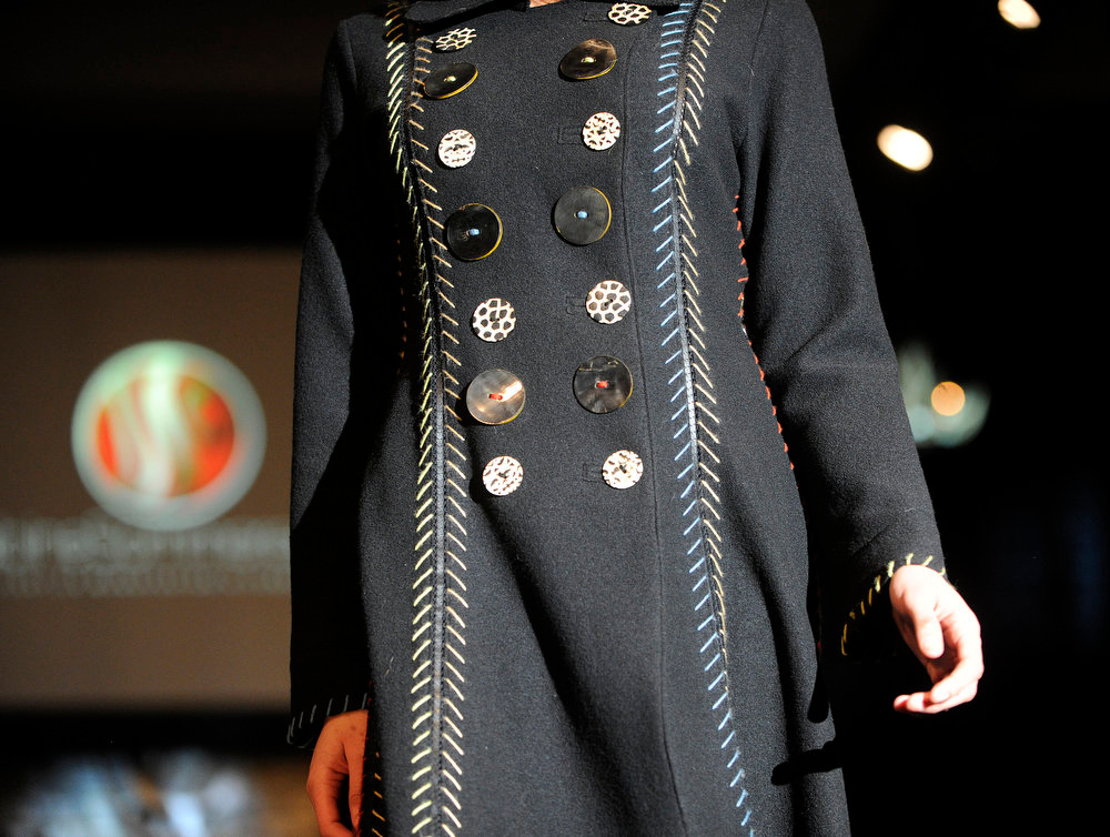 Description of . Detail of a Sabine Sommeregger coat,  as the SIA Snow Show hosted its 2013 Snow Fashion & Trends Show at the Colorado Convention Center  in downtown Denver  on Wednesday, January 30, 2013.  (Photo By Cyrus McCrimmon / The Denver Post)
