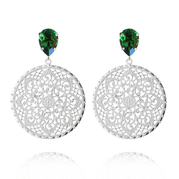 Alexandra Earrings / Dark Moss Green / Rhodium