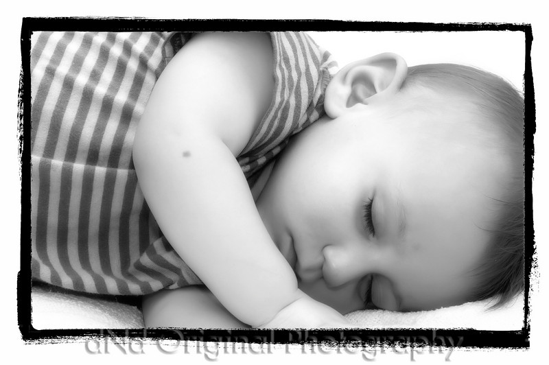 35 Declan's 1st Birthday Party - Declan Sleeping (b&w softfocus onOnePhotoFrame).jpg