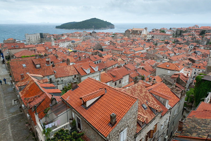 Rooftops over houses in Dubrovnik, Croatia