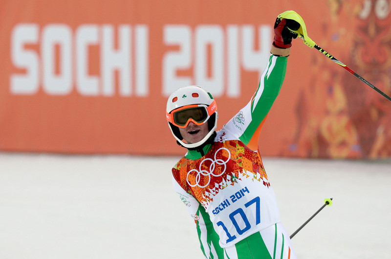 . Ireland\'s Conor Lyne reacts after finishing the first run of the men\'s slalom at the Sochi 2014 Winter Olympics, Saturday, Feb. 22, 2014, in Krasnaya Polyana, Russia. (AP Photo/Gero Breloer)
