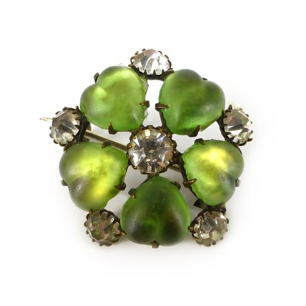Antique Czech Edwardian Green Opalescent Glass Clover Paste Brooch