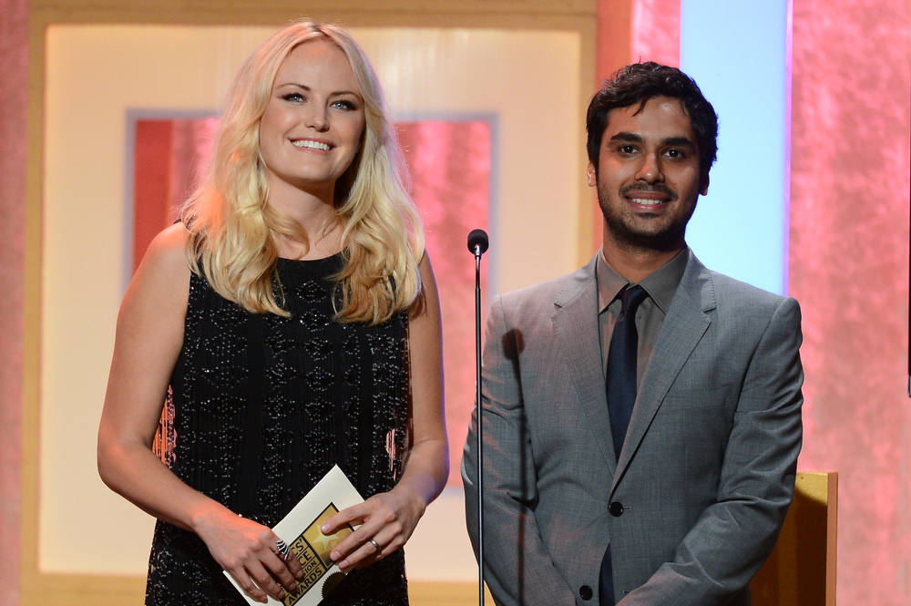 . Actors Malin Akerman and Kunal Nayyar speak onstage during Broadcast Television Journalists Association\'s third annual Critics\' Choice Television Awards at The Beverly Hilton Hotel on June 10, 2013 in Los Angeles, California.  (Photo by Mark Davis/Getty Images for CCTA)