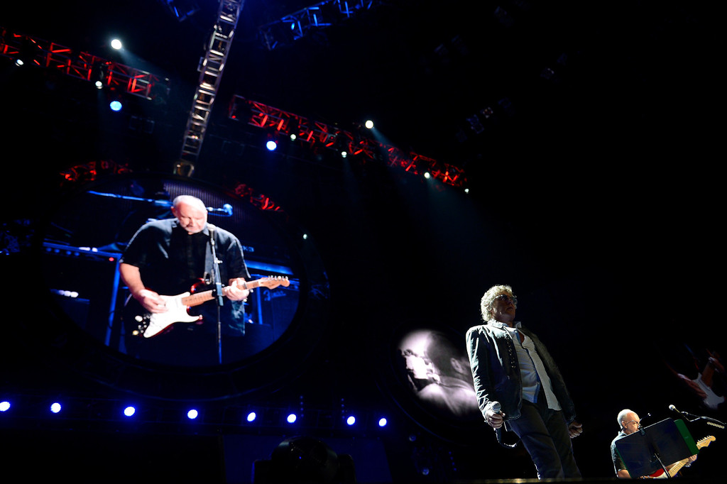 . DENVER, CO. - FEBRUARY 12: Roger Daltrey and Pete Townshend of The Who performs during their Quadrophenia and More tour stop February 12, 2013 at the Pepsi Center in Denver.  (Photo By John Leyba/The Denver Post)