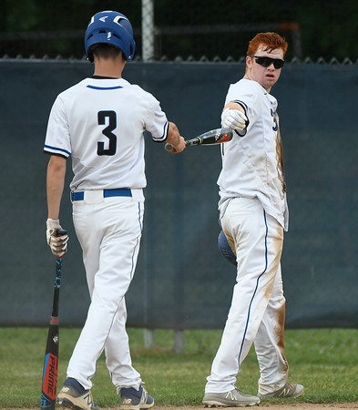 5/29/2018 Mike Orazzi | Staff St. Paul's Walker Sharp (3) and Christopher Mills (16) during Tuesday's Class S First Round baseball game with Housatonic Regional in Bristol.