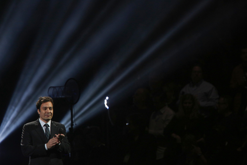 . The actor Jimmy Fallon speaks at the 12-12-12 benefit concert for victims of Hurricane Sandy, at Madison Square Garden in New York, Dec. 12, 2012. The concert features a lineup of artists spanning five decades. (Damon Winter/The New York Times)