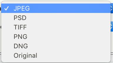 File Settings - Image Format Selection List